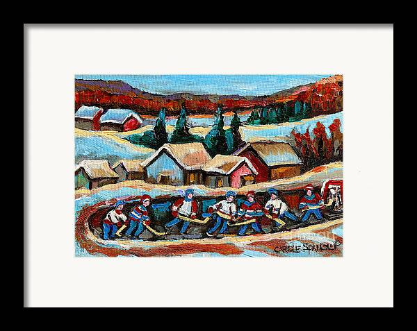 Pond Hockey Framed Print featuring the painting Pond Hockey 2 by Carole Spandau