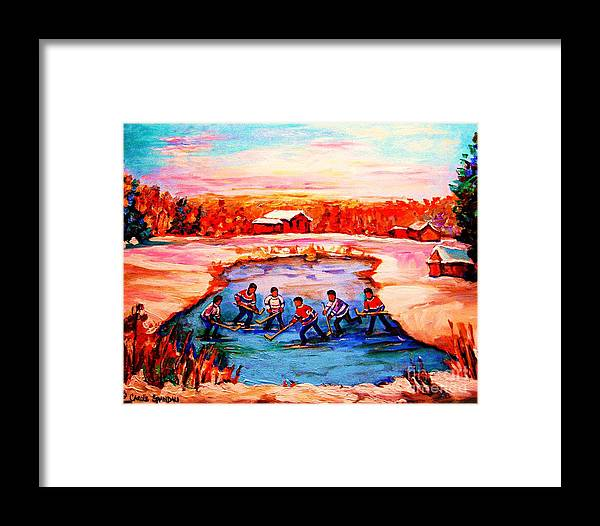 Pond Hockey Framed Print featuring the painting Pond Hockey Game By Montreal Hockey Artist Carole Spandau by Carole Spandau