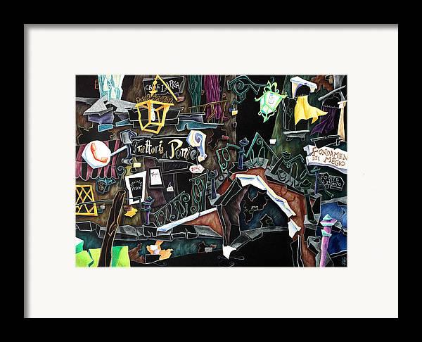 Contemporary Art Framed Print featuring the painting Ponte Del Megio - Venice Fine Art Collage by Arte Venezia