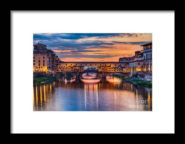 Michele Framed Print featuring the photograph Ponte Vecchio At Sunset by Michele Steffey