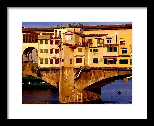 Ponte Vecchio Framed Print featuring the photograph Ponte Vecchio In Florence by Jacqueline M Lewis