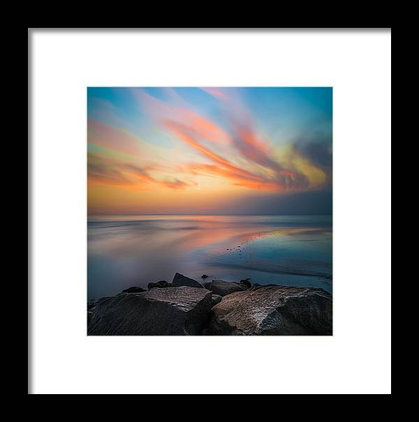 California; Long Exposure; Ocean; Reflection; San Diego; Sand; Seascape; Sky; Sunset; Surf; Seaside; Sun; Clouds; Southern California; Cloud; Water; Waterscape; Reef; Sea; Pacific; Waves; Coast; Coastal;skyline Framed Print featuring the photograph Ponto Jetty Sunset - Square by Larry Marshall