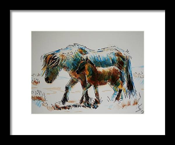 Dartmoor Framed Print featuring the painting Pony And Foal by Mike Jory