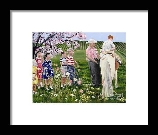 Pasture Framed Print featuring the painting Ponyride by Debra Chmelina