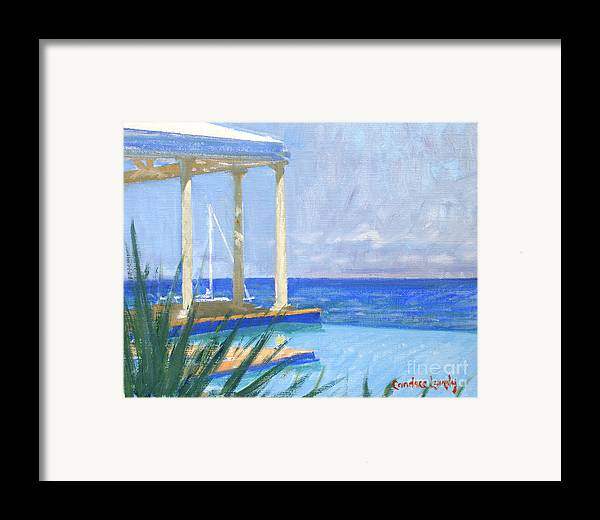 Infinity Pool Framed Print featuring the painting Pool Cabana Morning by Candace Lovely