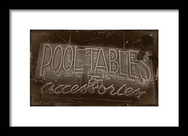 Arts Framed Print featuring the photograph Pool Tables And Accessories - Vintage Neon Sign by Steven Milner