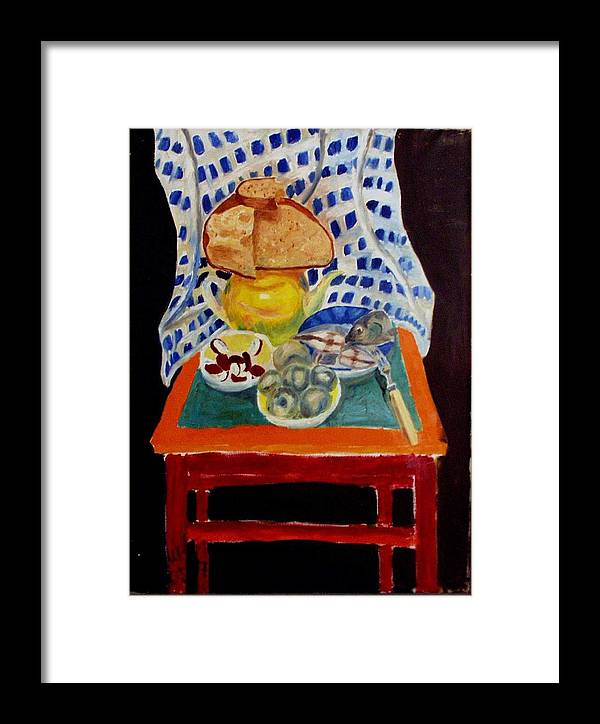 Poor Man's Diner Framed Print featuring the painting Poor Artist's Supper by Vladimir A Shvartsman