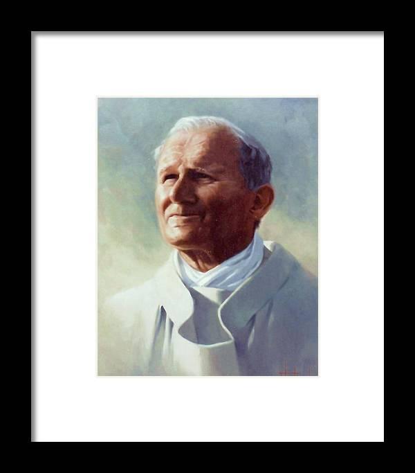 Pope John Paul 2 Framed Print featuring the painting Pope John Paul 2 by Thomas Kolendra