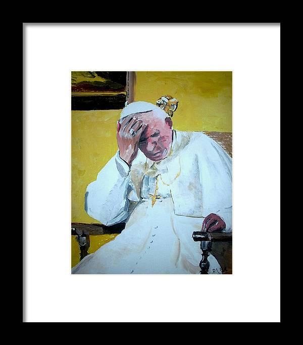 Pope Framed Print featuring the painting Pope Praying by Ruben Barbosa