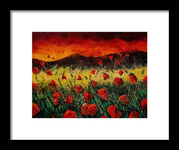 Poppies Framed Print featuring the painting Poppies 68 by Pol Ledent