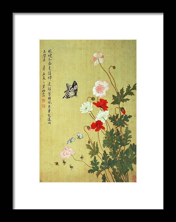 Chinese Framed Print featuring the photograph Poppies, Butterflies And Bees Ink And Colour On Silk by Ma Yuanyu