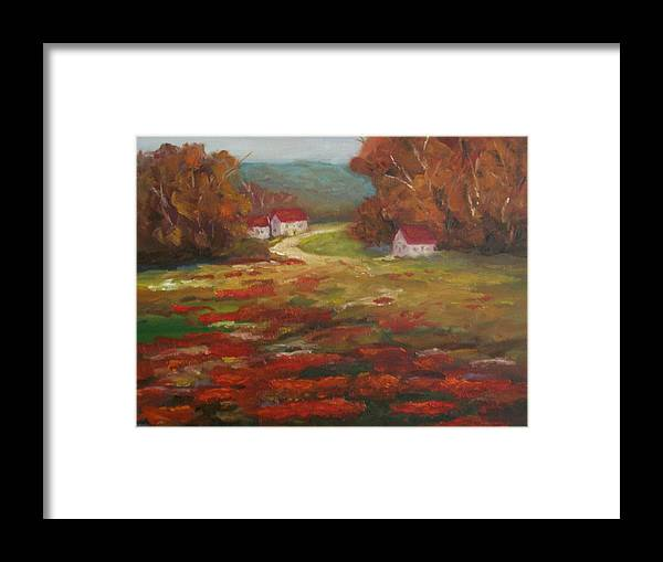 Field Of Poppies Framed Print featuring the painting Poppies by Ellen Ebert