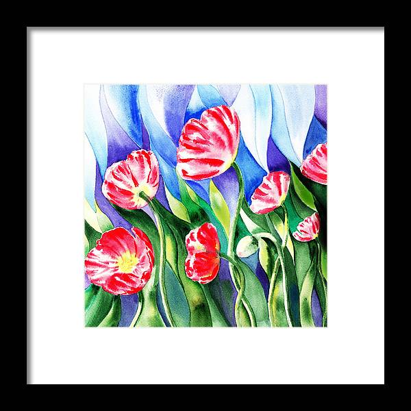 Red Framed Print featuring the painting Poppies Field Square Quilt by Irina Sztukowski