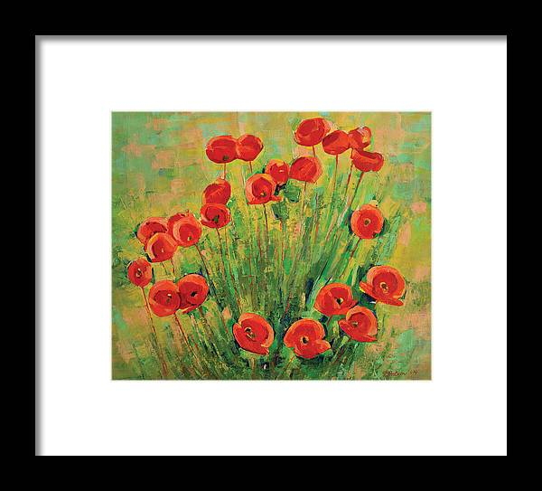 Poppies Framed Print featuring the painting Poppies by Iliyan Bozhanov