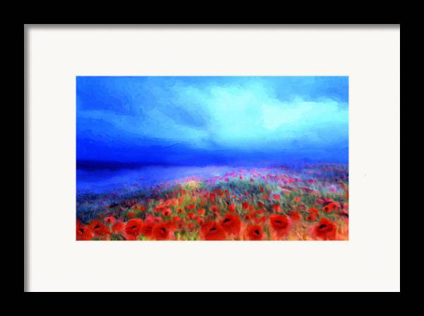 Floral Art Framed Print featuring the mixed media Poppies In The Mist by Valerie Anne Kelly