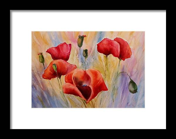 Poppies Framed Print featuring the painting Poppies by Olga Lazareva