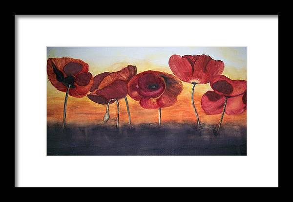 Flowers Framed Print featuring the painting Poppies by Tammy McClung