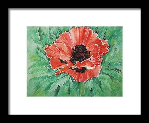 Poppy Framed Print featuring the painting Poppy by Ellen Canfield