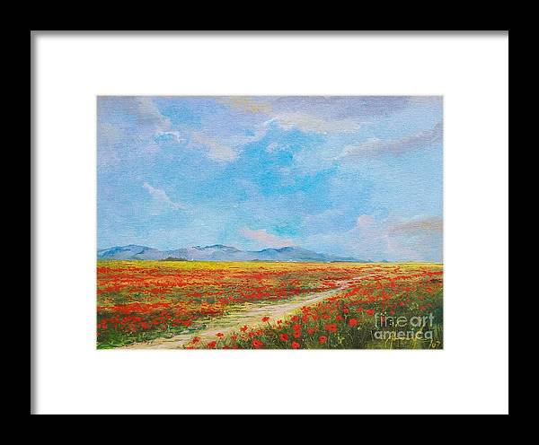 Poppy Field Framed Print featuring the painting Poppy Field by Sinisa Saratlic