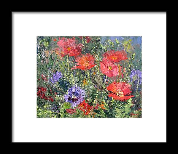 Sheri Jones Framed Print featuring the painting Poppy Parade by Sheri Jones
