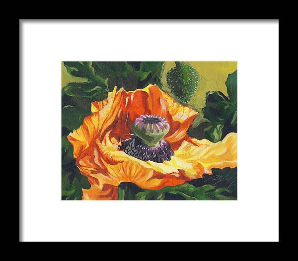 Garden Framed Print featuring the painting Poppy With Yellow by Alfred Ng