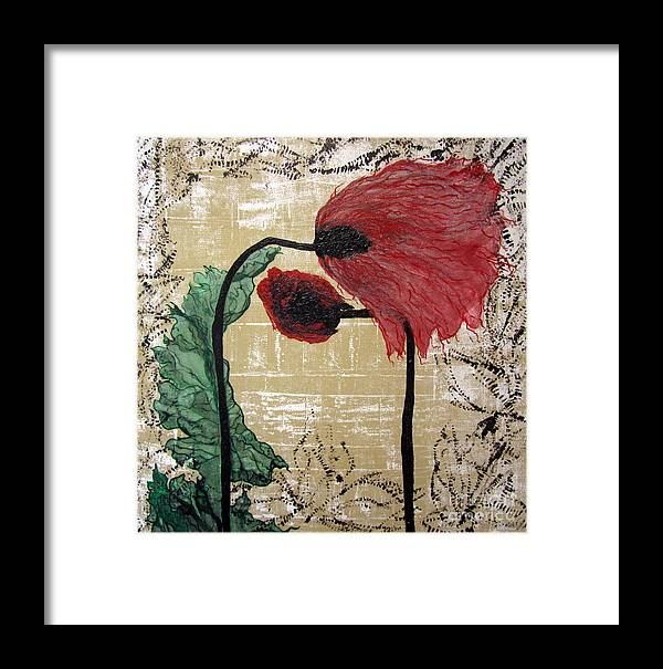Colorful Framed Print featuring the painting Poppys Entwined by Jeanne Ward