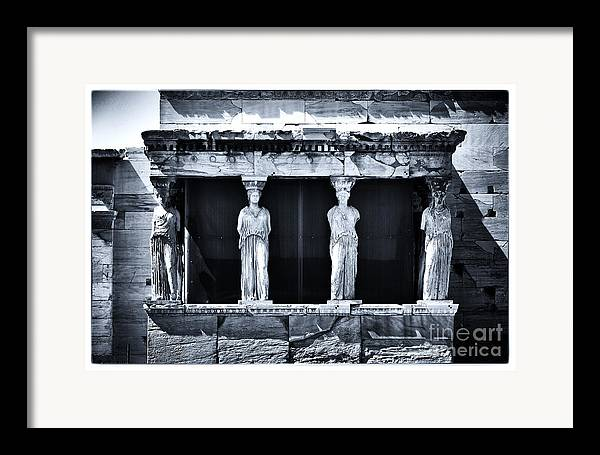 Porch Of The Caryatids Framed Print featuring the photograph Porch Of The Caryatids by John Rizzuto