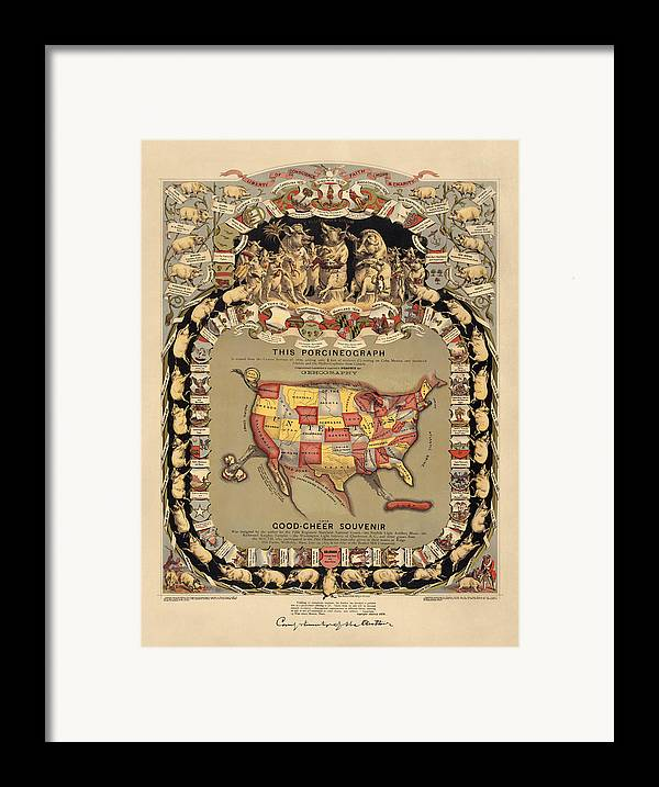 United States Framed Print featuring the drawing Pork Map Of The United States From 1876 by Blue Monocle