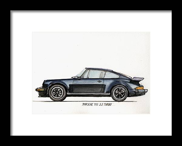 Porsche Framed Print featuring the painting Porsche 911 930 turbo by Juan Bosco