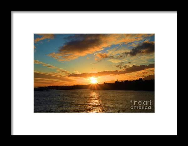 Port Angles Framed Print featuring the photograph Port Angeles Sunburst by Adam Jewell