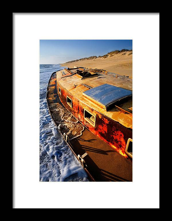 North Carolina Framed Print featuring the photograph Port Side Down Captain - Outer Banks by Dan Carmichael