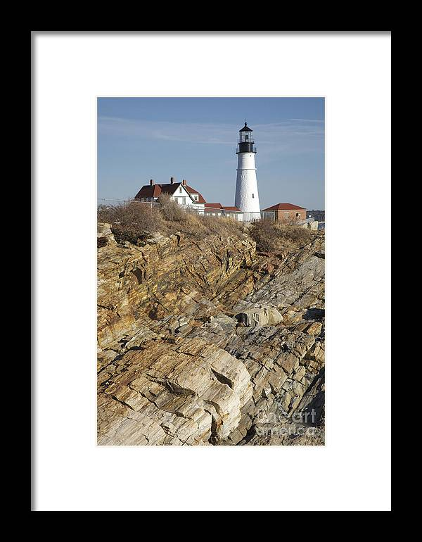 Atlantic Ocean Framed Print featuring the photograph Portland Head Light - Cape Elizabeth Maine by Erin Paul Donovan