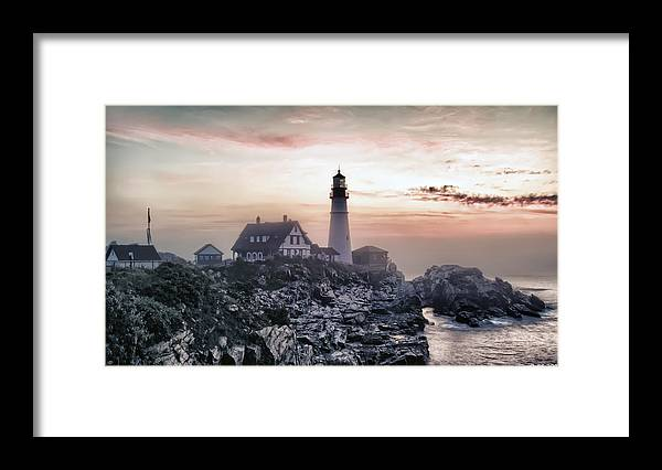 Architecture Framed Print featuring the photograph Portland Head Light Summer Sunrise by Richard Bean