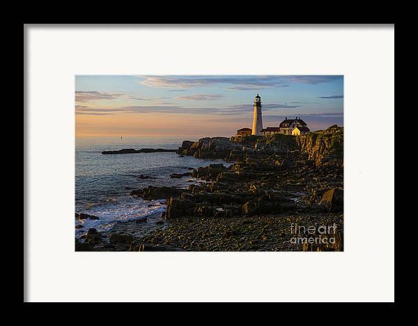 Portland Head Lighthouse Framed Print featuring the photograph Portland Head Lighthouse At Dawn by Diane Diederich