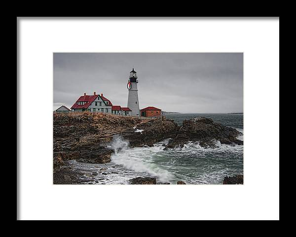 Architecture Framed Print featuring the photograph Portland Headlight @ Christmas by Richard Bean