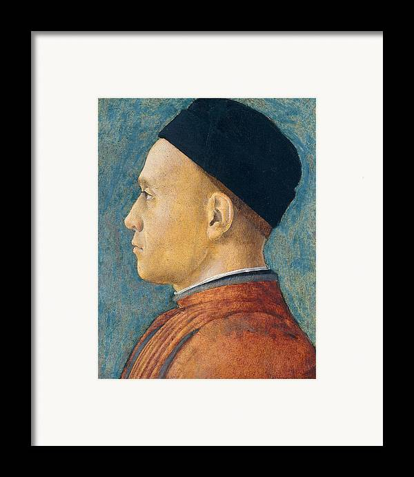 Profile Framed Print featuring the painting Portrait Of A Man by Andrea Mantegna