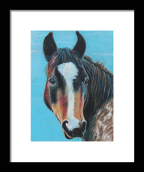 Horse Framed Print featuring the painting Portrait Of A Wild Horse by Jeanne Fischer