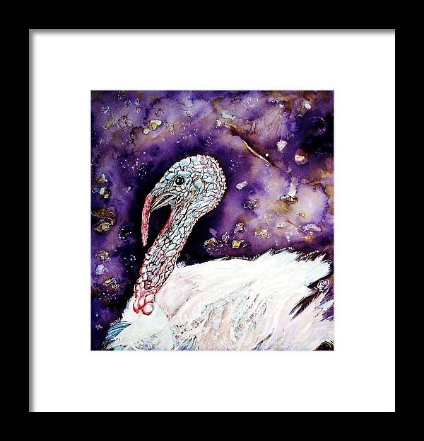 Turkey Framed Print featuring the painting Portrait of a Turkey by ITI Ion Vincent Danu