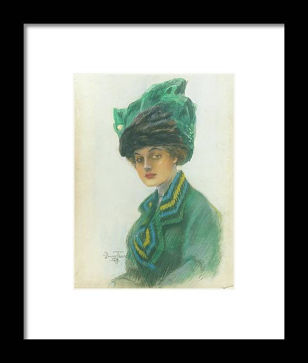 Fashion Framed Print featuring the digital art Portrait Of A Woman Wearing A Green Gown by Stuart Travis