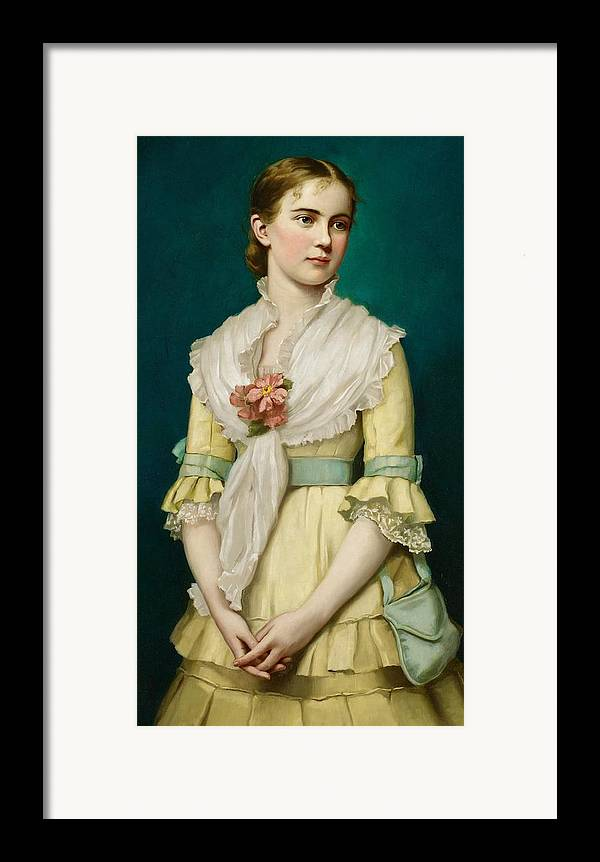 Portrait Framed Print featuring the painting Portrait Of A Young Girl by George Chickering Munzig