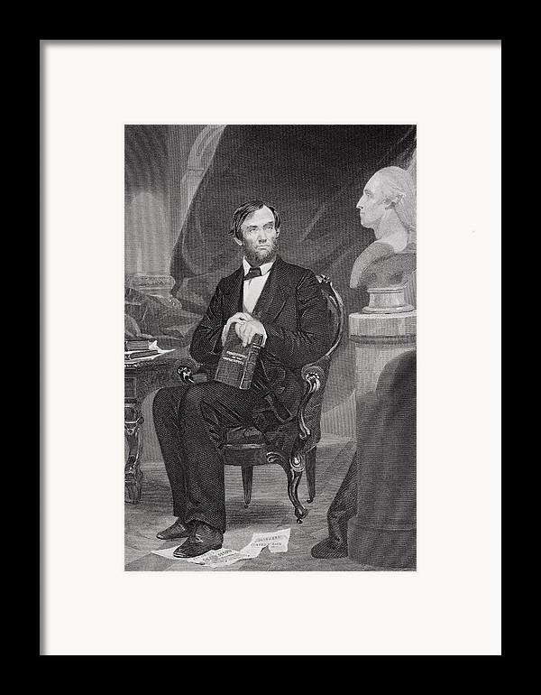 Male Framed Print featuring the painting Portrait Of Abraham Lincoln by Alonzo Chappel