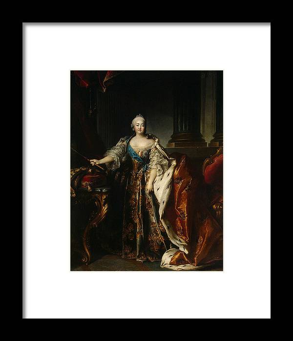 Empress Elizabeth Petrovna Framed Print featuring the photograph Portrait Of Empress Elizabeth, 1758 Oil On Canvas by Louis M. Tocque