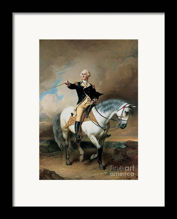 Portrait; War; Full Length; Equestrian; Salute; Saluting; Trenton; History; Historical; Heroic; Horse; Mounted; Horseback; Riding; Commander; Independence; President; Politician; Statesman; Us; Usa; United States; America; American; Leader; George Washington; Landscape; Sword; Uniform; Uniformed; Dramatic; Leadership; Strength; Power; 18th Framed Print featuring the painting Portrait Of George Washington Taking The Salute At Trenton by John Faed