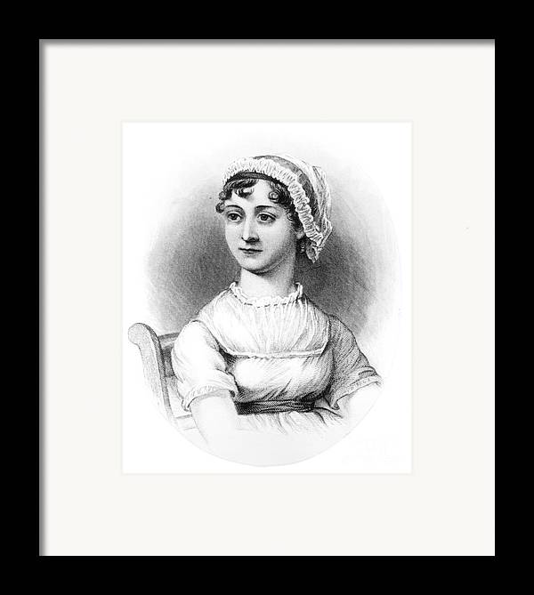 Female; Novelist; Writer; Regency Framed Print featuring the drawing Portrait Of Jane Austen by English School