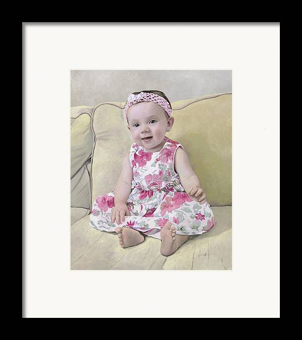 Maddie Framed Print featuring the painting Portrait Of Maddie by Guido Borelli