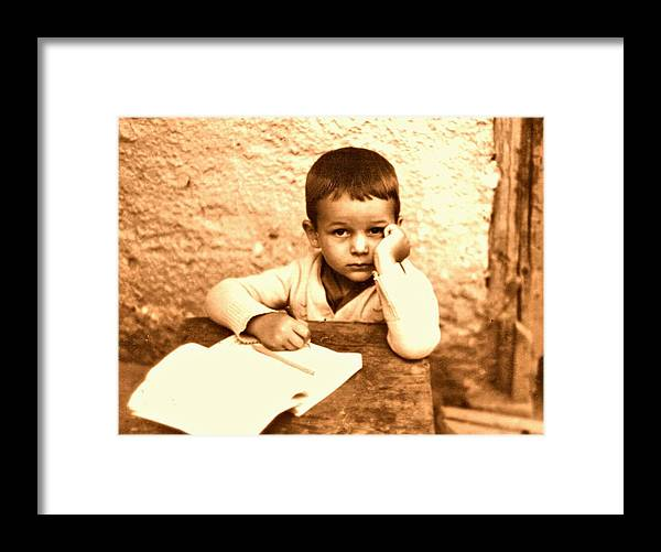 Photography Framed Print featuring the photograph Portrait of the Artist as a Young Boy by ITI Ion Vincent Danu
