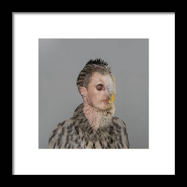 People Framed Print featuring the photograph Portrait Of Young Man With Owl Overlay by Nisian Hughes