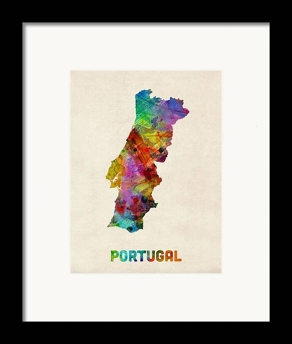 Map Art Framed Print featuring the digital art Portugal Watercolor Map by Michael Tompsett
