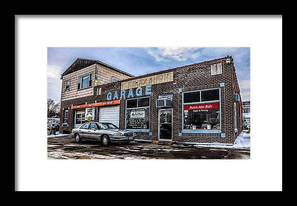 Garage Framed Print featuring the photograph Portz's Garage by Ray Congrove