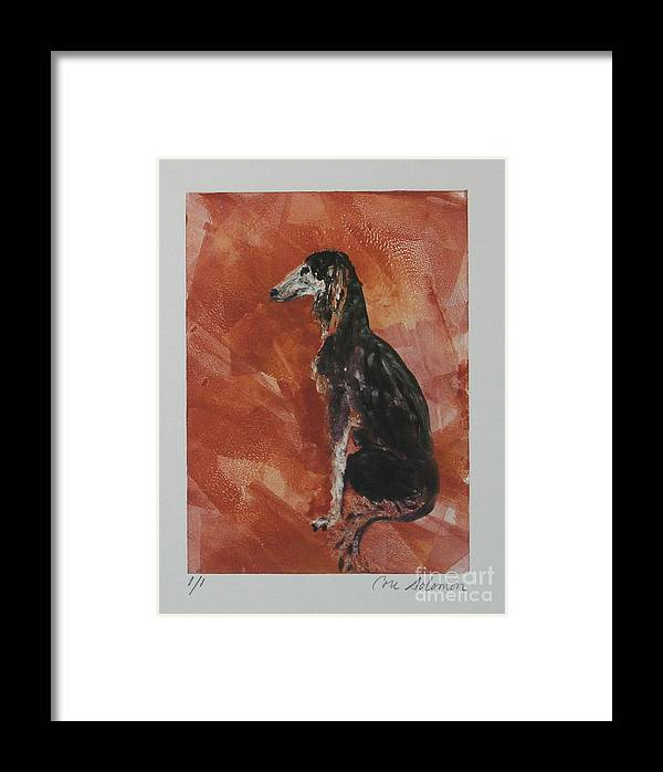 Saluki Framed Print featuring the mixed media Posed Perfectly by Cori Solomon